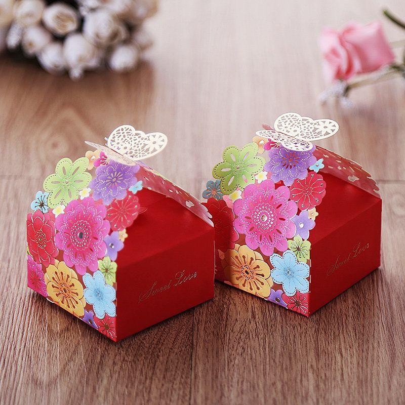 100pcs Laser schnitt Süßigkeits-Kasten-bunte Blumen-Geschenk-Kästen neue Hochzeits-Dekoration-Hochzeits-Faovrs geben Verschiffen frei Neu