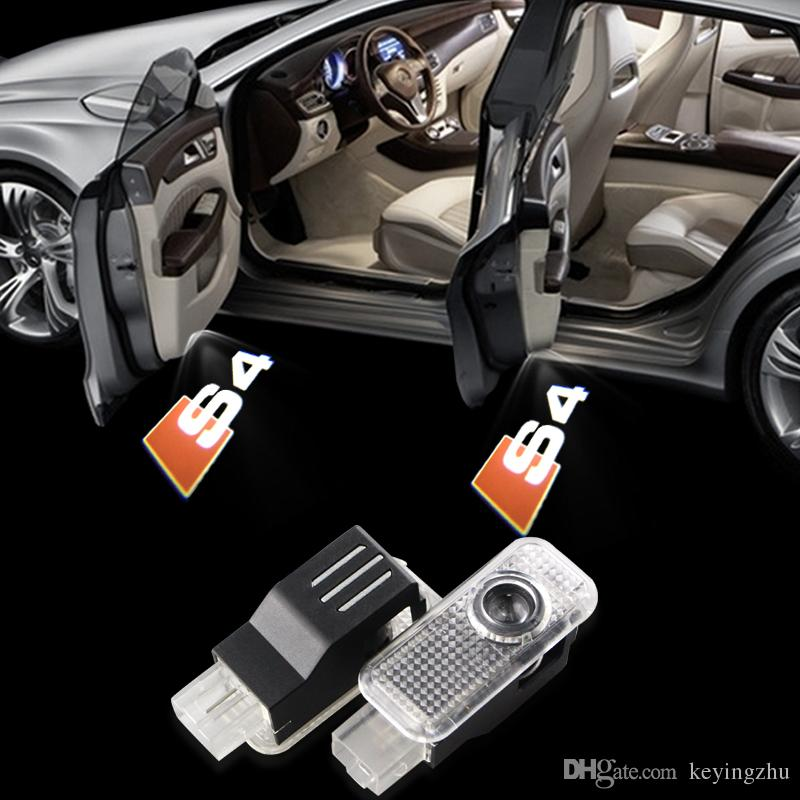 2pic Audi S4 Car Door Logo Light Ghost Shadow LED HD brightness 3D Courtesy Laser Projector Welcome Lamp bulb