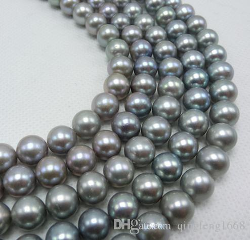 Großhandel 7-8mm Südsee grau natürliche Perlenkette 18 Zoll 925 Silber Verschluss QX-908