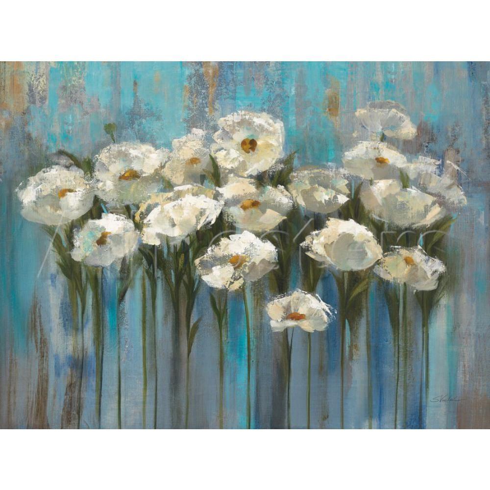 Flor abstrata pinturas a óleo Silvia Vassileva Anemones pelo Lago arte moderna para decoração de parede pintados à mão