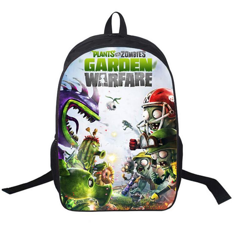품질 3D 만화 식물 대 좀비 여행 배낭 배낭 2016 새로운 야외 스포츠 가방 학교 가방