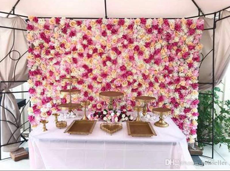Romantyczny Kolor Biały Sztuczny Róża Hortensja Kwiat Ściana 60CMX40CM do Wedding Party Stage Tło dekoracji Dostarcza Wiele kolorów