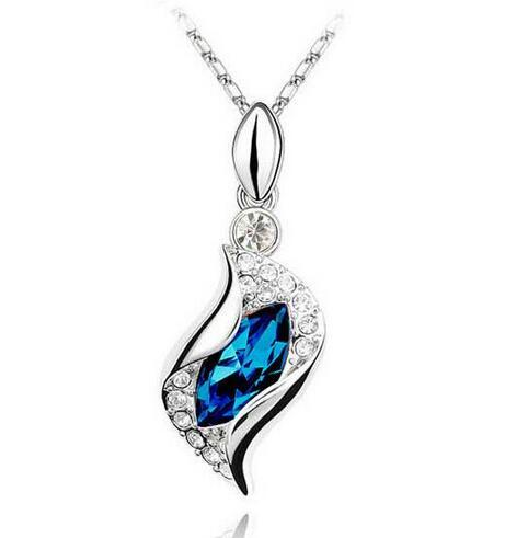 19 Color Fashion White Gold Color Austrian Crystal Horse Eye Women Necklace Rhinestone Necklace Health Wedding Jewelry Nice Gift Wholesale