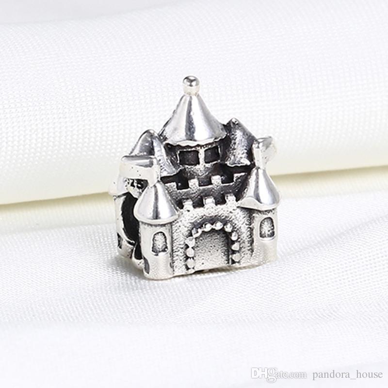 Vente en gros 925 argent sterling non plaqué château de charmes européens perles Fit Pandora Snake Chain Chaîne Bracelet DIY Bijoux