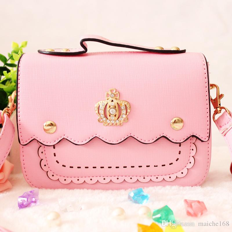 Mädchen Mode Neue Umhängetasche Tasche Baby Crown Handtasche Kinder Prinzessin niedlich VKOJK