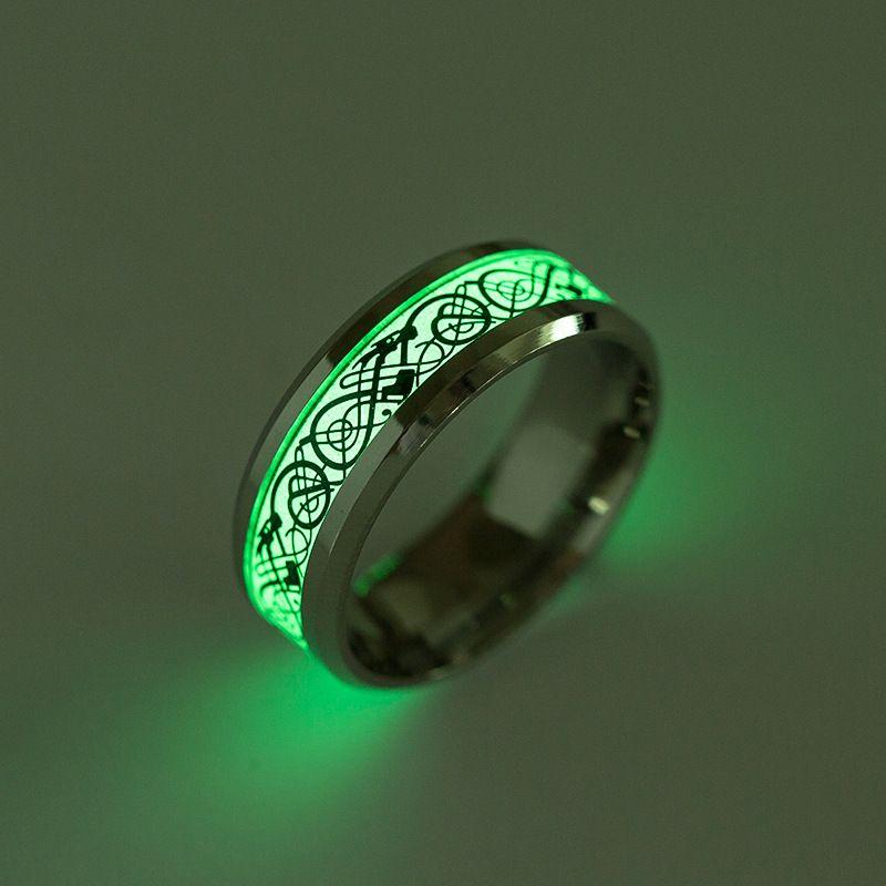 Nuovo anello in acciaio al titanio fluorescente gioielli di design luminoso drago anello formato misto 6-13 #