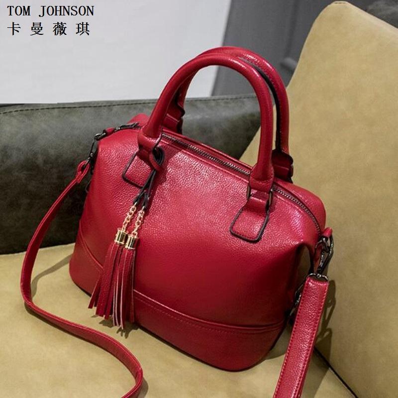 Wholesale- 2016 women's genuine leather shoulder bags women messenger bags handbags women bag Black Red Blue Pink CC0822