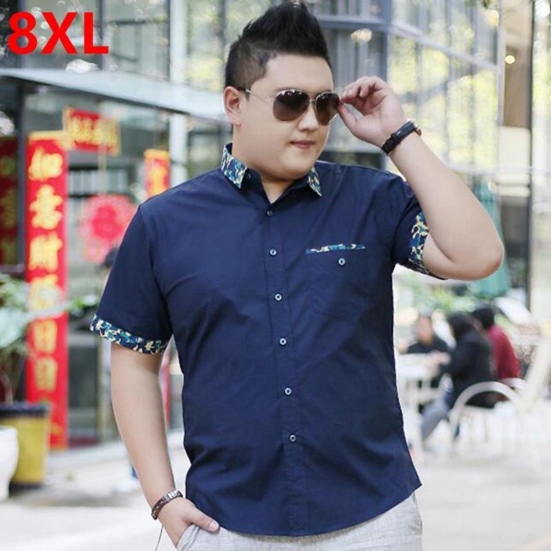 Vente en gros - hommes plus la taille des vêtements à manches courtes chemise mâle grande taille occasionnel chemise graisse d'été à manches courtes de base 8XL 7XL 6XL