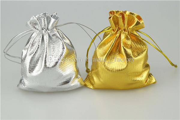 100PCS 골드 / 실버 헝겊 가방 보석 파우치 선물 포장 9 X 12 cm (3.5 x 4.7 인치) 선물 가방