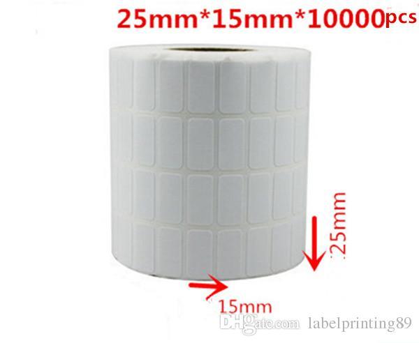 25 * 15mm 10000pcs / rouleau d'emballage de papier blanc ou blanc d'emballage de papier à barres autocollants auto-adhésifs étiquettes emballage roulant