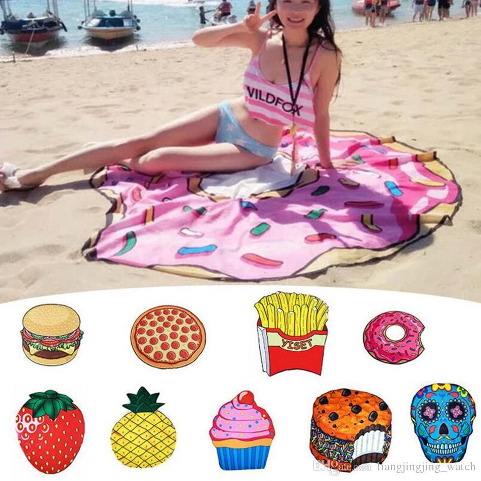 Frutta di estate Telo da mare 18 stili Pizza Hamburger Donut Teschio gelato fragola in poliestere Rotonda Spiaggia telo doccia OOA2266