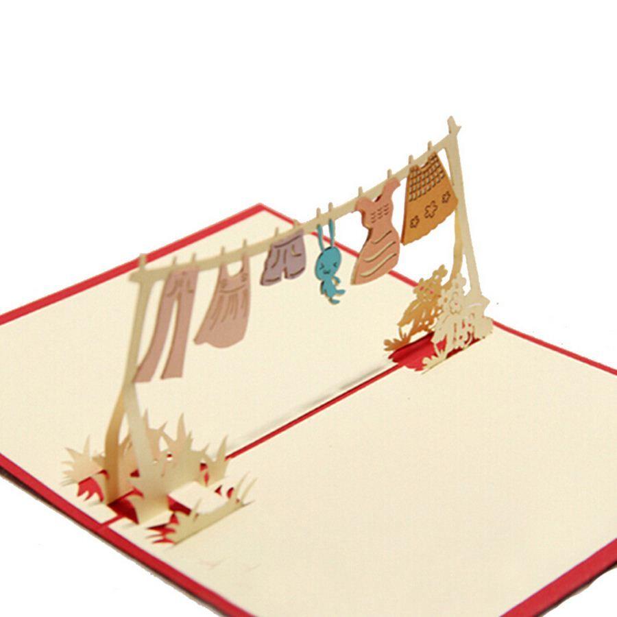 (10 pieces/lot)Childhood Racks Cartoon Rabbit Handmade Three-dimensional Greeting Card Memorial Paper-cut Birthday Card