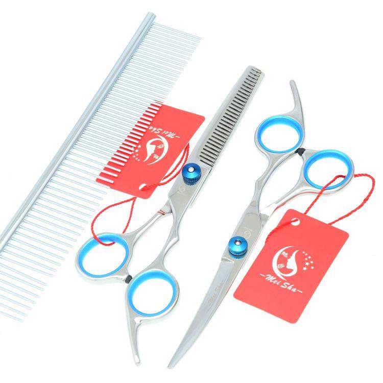 6.0Inch 2017 New Meisha JP440C Pet Grooming Scissors Set Pet Scissors Cutting & Thinning & Curved Dog Cat Shears Grooming Kits , HB0008