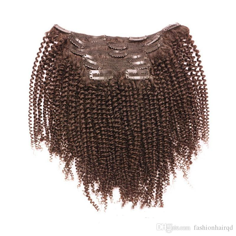 Clip In Kinky Curly Human Hair Extensions 7pcs 100g Mongolian Virgin Hair Afro Kinky Curly Clip Ins 10pcs 120g Black Brown Color