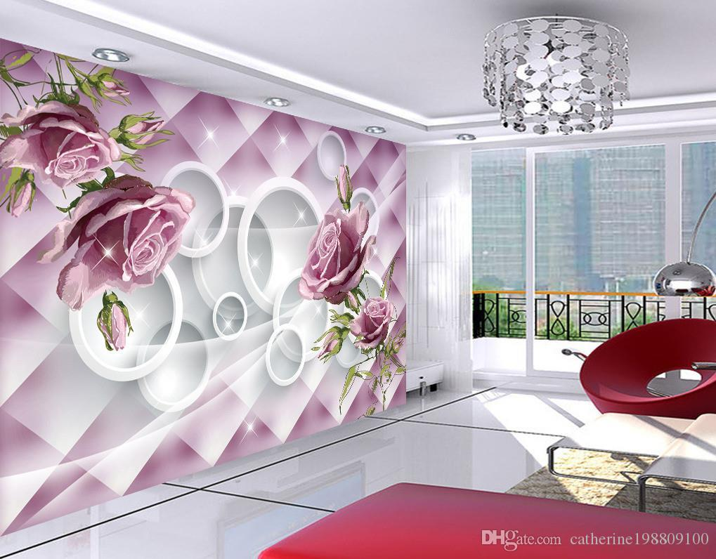 Nueva 3D personalizado pintado a mano hermoso color de rosa púrpura 3D de pared para TV mural de papel pintado 3D