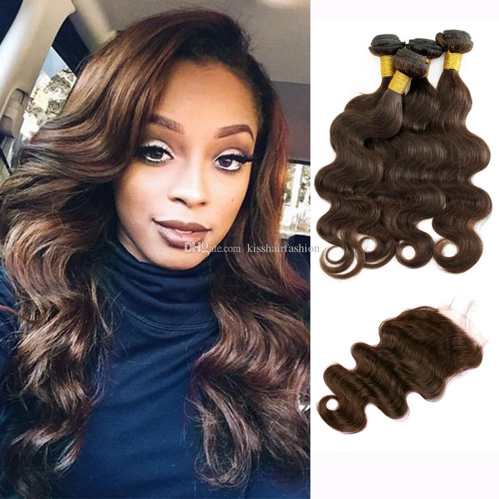 4 Bundles con chiusura a pizzo Brown Brasiliano Body Wave Virgin Hair Capelli Tessuti Bundles Free Part Middle Parte Three Part