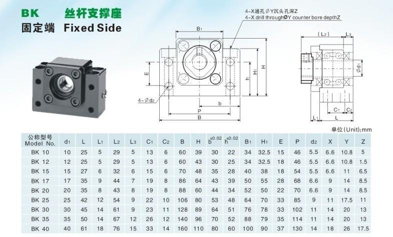 1 Set of BK10 // BF10 End Support YANGDONG CHASH SFU1204 Ball Screw C7 Size : 1000mm Engraving Machine Accessories Suitable for CNC Ball Nut Housing 3D Printing Coupler RM1204