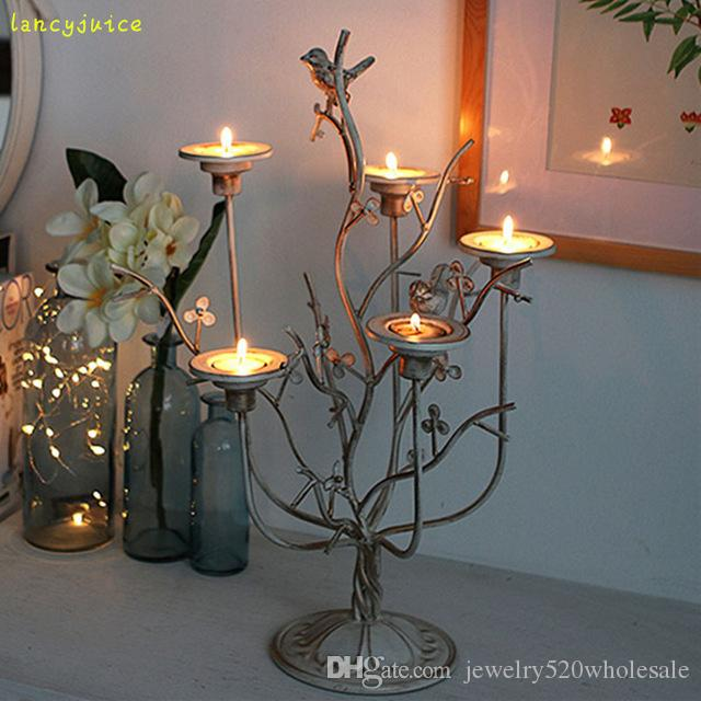 Retro Bird Nest Candle Holder Romantic Dinner Candle Stand Creative Metal Candlesticks Home/Bar Decor Candle Included