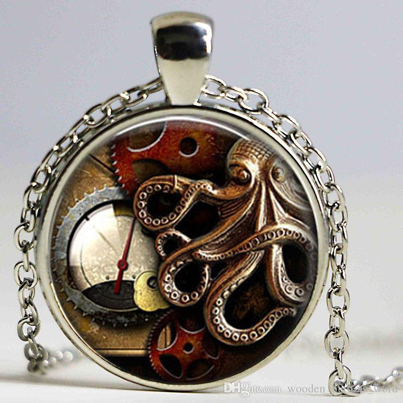 New 2017 Animals Octopus Clock Watch Necklace Steampunk Pendant Wholesale Jewelry High Quality