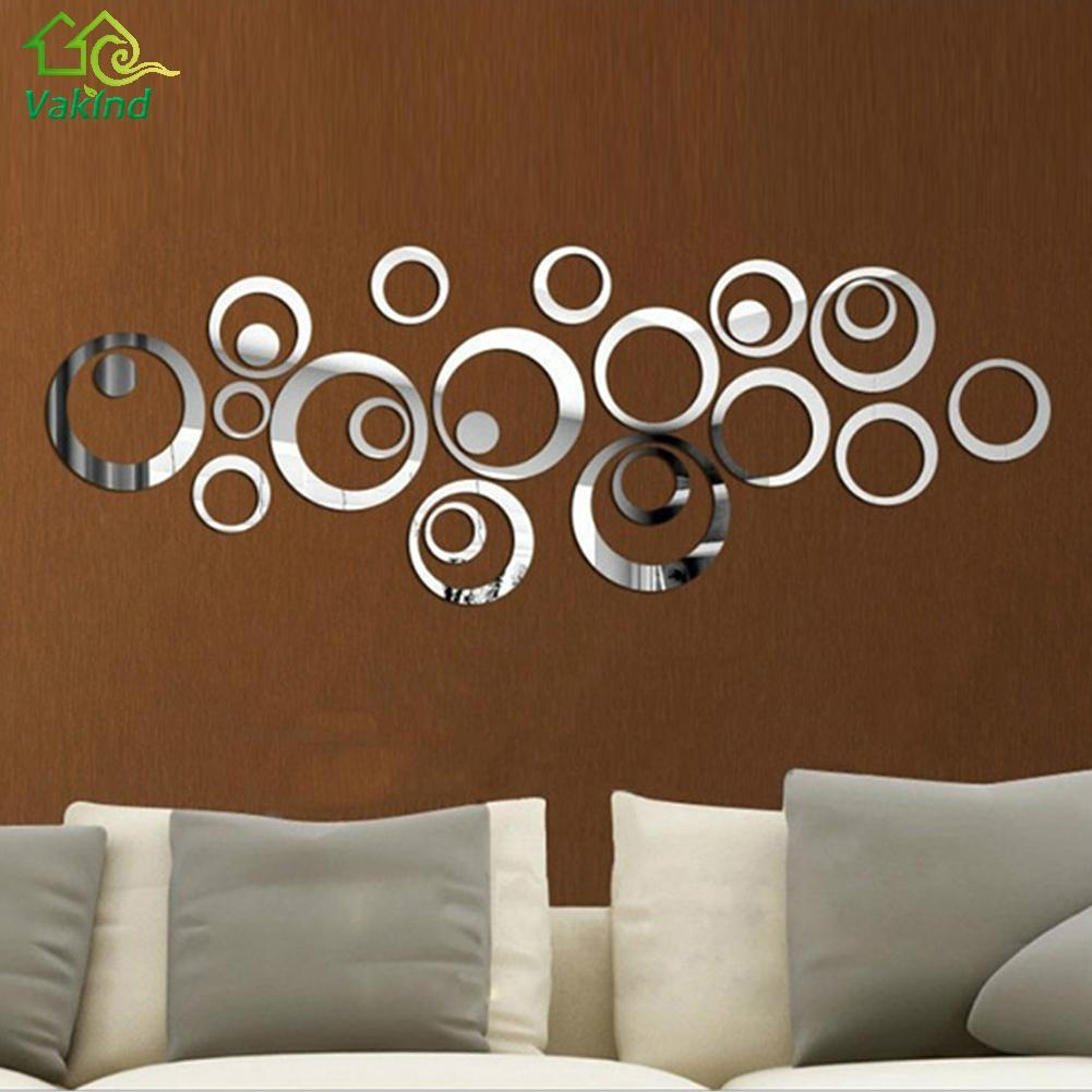 24pcs Diy Circles Mirror Wall Stickers Removable Vinyl Art Mural Wall Stick Home Decor For Room Decals Decoration Wallpaper