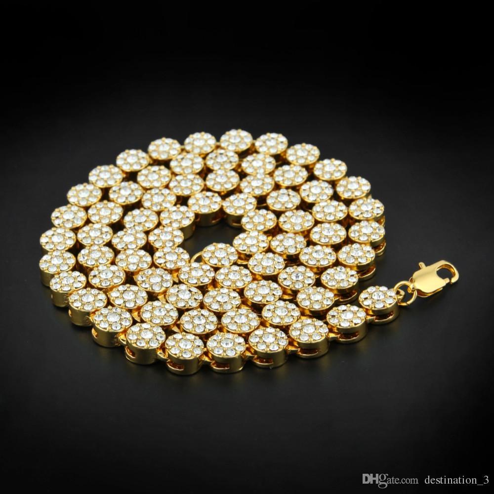 """Mens New Yellow Gold Finish Crystal 30 """"Blume Halskette Kette für Männer und Frauen"""