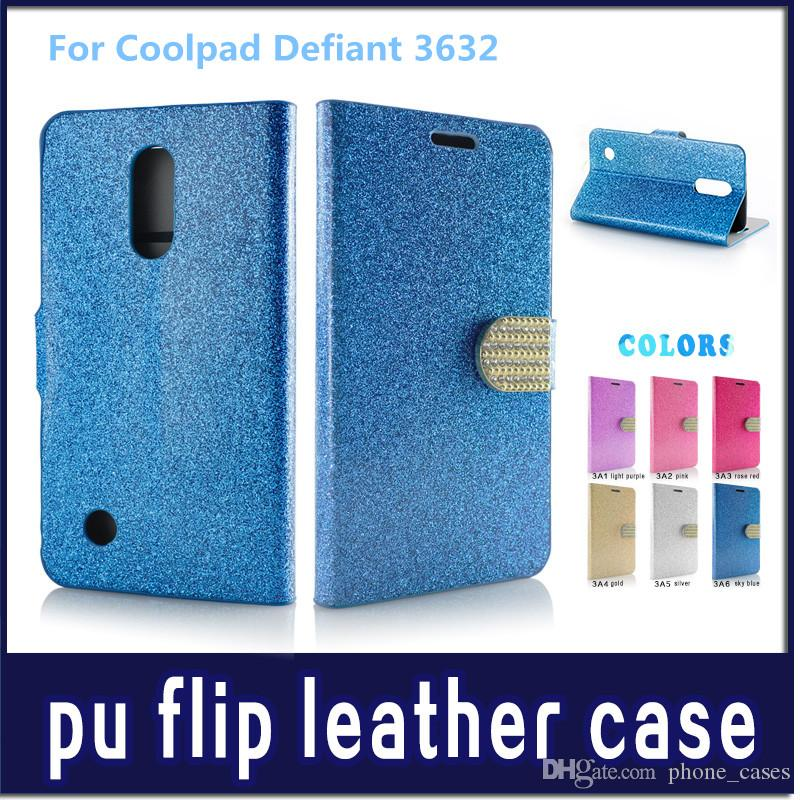 Diamond Pattern Wallet Flip PU Leather Case Cell Phone Cases For Coolpad Defiant 3632 Metropcs Bling Phone Bag Cover