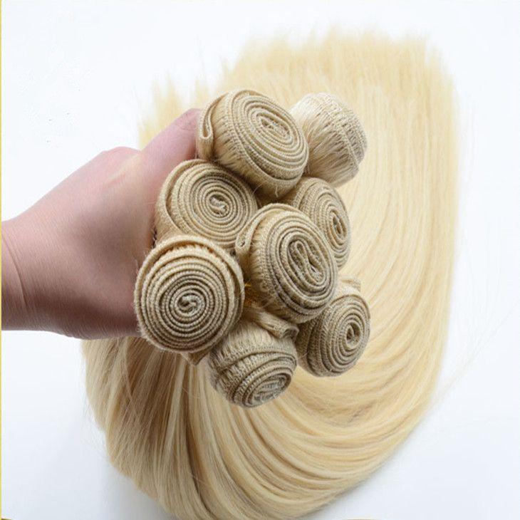 ELIBESS HAIR -Raw unprocessed virgin human hair extension 613 color 4 bundles 60g/pcs 240g 10''-28'' blonde human hair weft