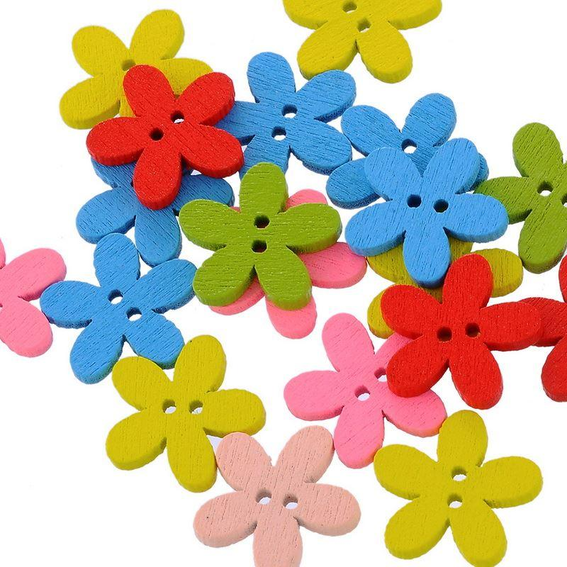 100PCs NEW Wholesale Natural Wooden Colorful Mixed Flowers Buttons Scrapbooking Sewing Accessories For DIY Craft 2 Holes 14x15mm