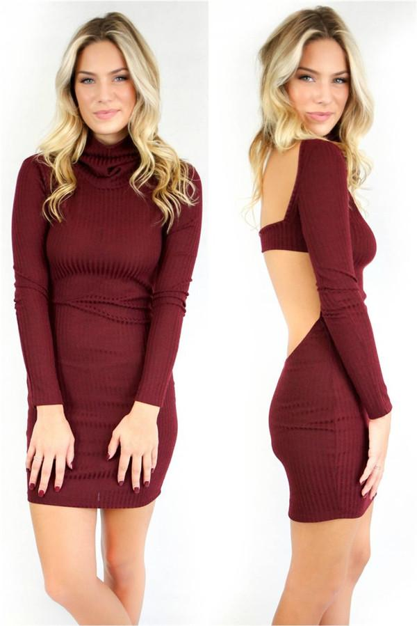 Robe dos nu sexy une robe à manches longues