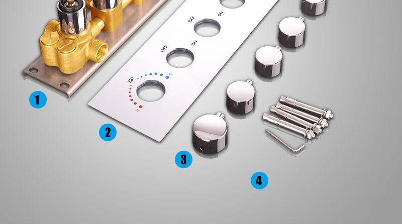 Bathroom Shower Valve Large Water Flow Solid Shower Accessories 5 ways Chrome Brass Panel Diverter Faucet Tap Shower Controller (23)