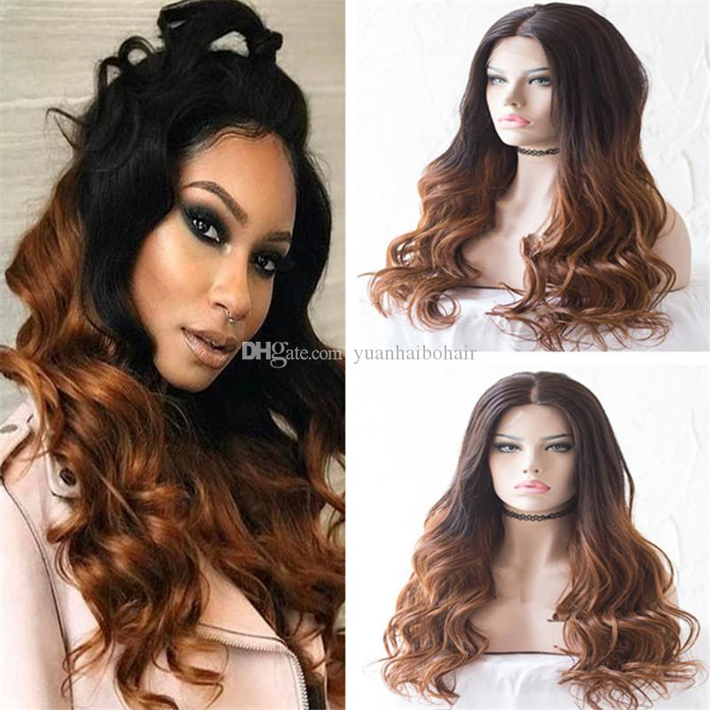 Celebrity Wig Brazilian Virgin Human Hair Lace Front Wigs Two Tone Ombre Color Loose Wave Full Lace Wig For Black Woman Free Shipping