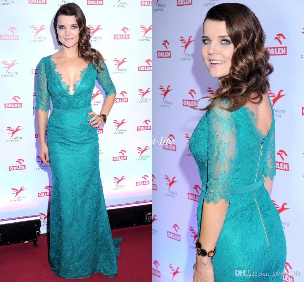 Fashionable Turquoise Celebrity Evening Dresses Long Half Sleeves Mermaid Prom Dress Elegant Lace Mermaid Mother of the Bride Guest Gowns