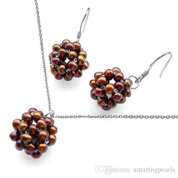 Juego de emparejamiento de bolas de nieve con perlas reales en cadena de plata de ley 925 colgante de perlas colgante de perlas pendientes en ganchos de plata
