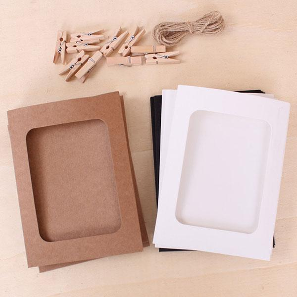 2018 6 Inch Paper Photo Frames Creative Washing Line Hanging Gallery ...
