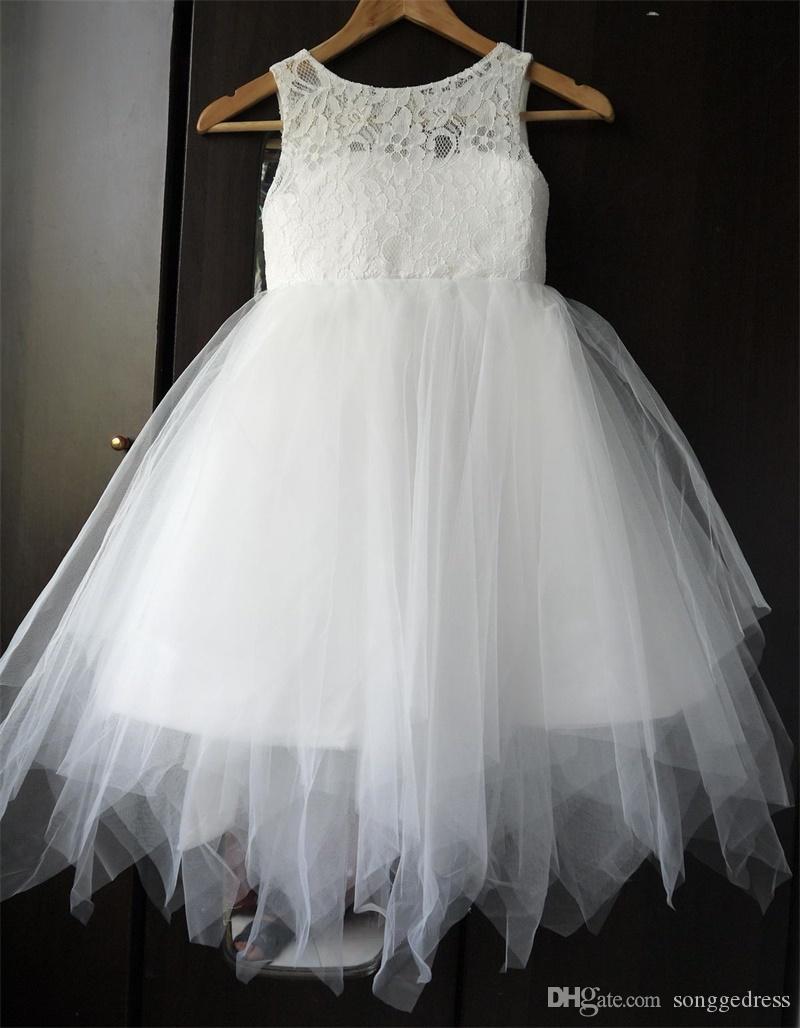 Brand New Blumen-Mädchen-Kleider für Hochzeit Kleine Mädchen KidsChildren Kleid Keyhole Zurück Erstkommunion-Ball-Party-Festzug-Kleid