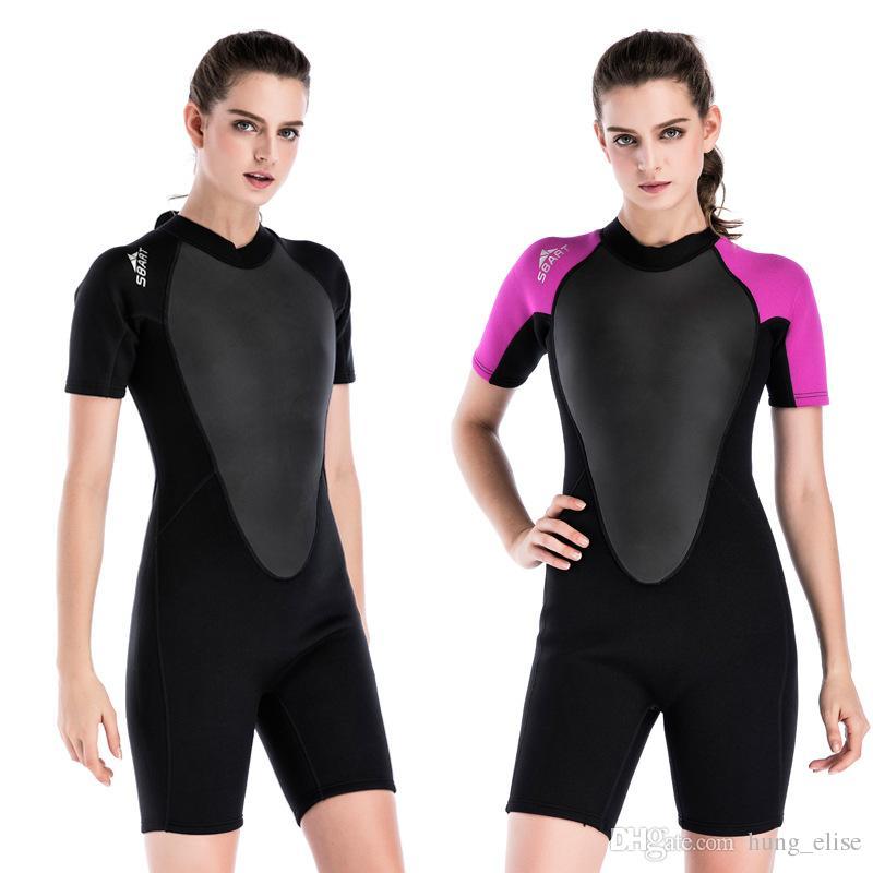 Sbart Néoprène Wetsuit Femmes 2 MM Surf Combinaisons Une Pièce Natation Snorkeling Plongée Combinaison Mouillée Manches Longues Natation