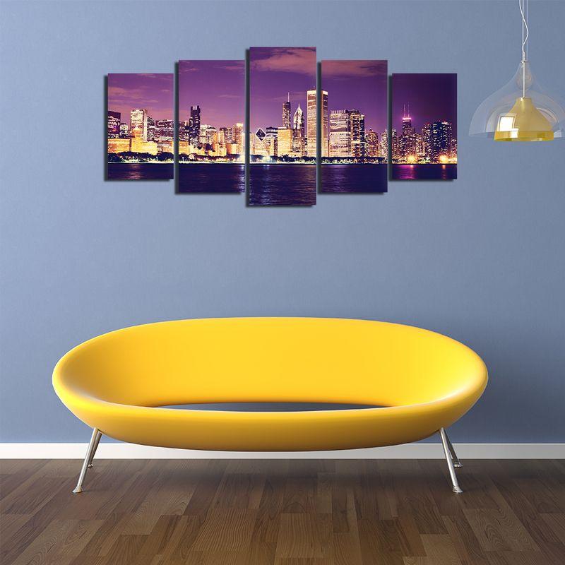 5 Pieces Canvas Wall Art, Cityscape Canvas Art Painting 5 Panels ...