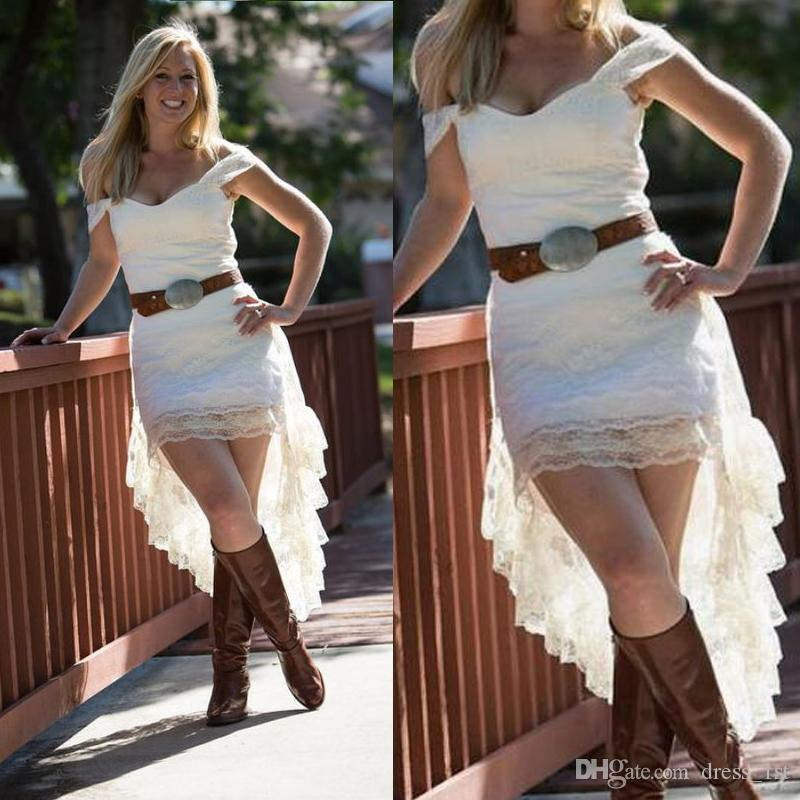 2017 Off The Shoulder Lace High Low Country Wedding Dresses Without Sash Cheap Short Front Long Back Bridal Gowns Casual Custom Made EN6285