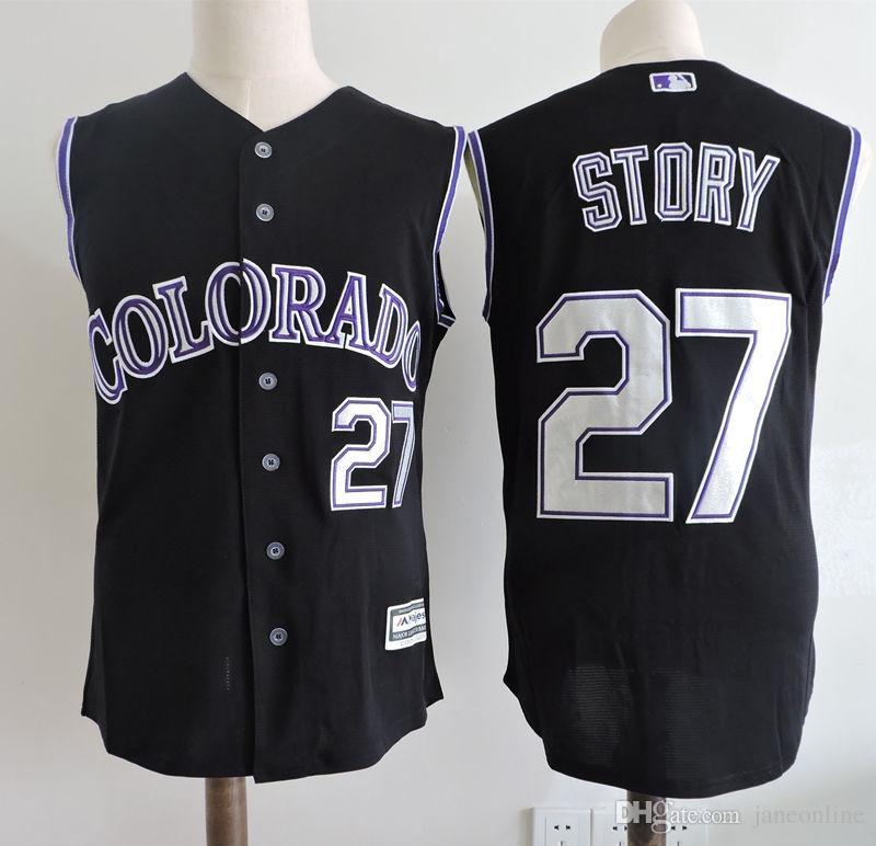 83a8e1d0a57 ... Blank Black Fashion Jersey colorado rockies sleeveless jersey 47481  Mens Colorado Rockies 28 Nolan Arenado 27 Trevor Story Black Vest ...