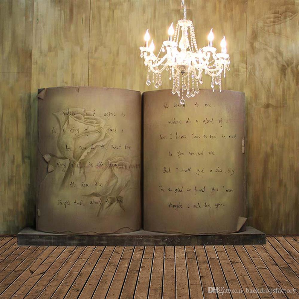 online retailer 37031 c4336 2019 Brown Wooden Wall Photographic Background Book Children Candles  Crystal Chandelier Wedding Photography Backdrops Vintage Wood Planks Floor  From ...