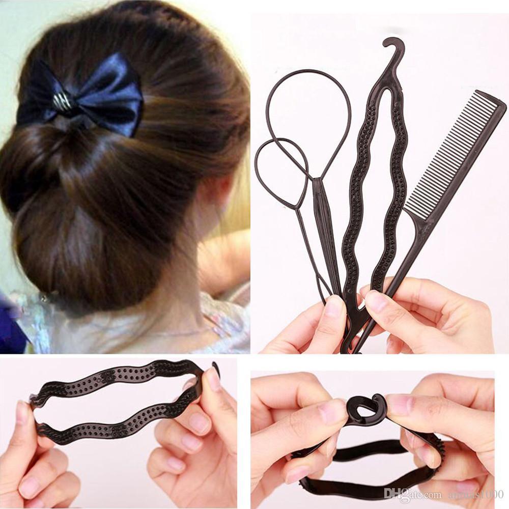 Hot Sale !!! 4 Pcs / Set Random Color Styling Clip Bun Maker Hair Twist Braid Ponytail Tool Accessories free shipping