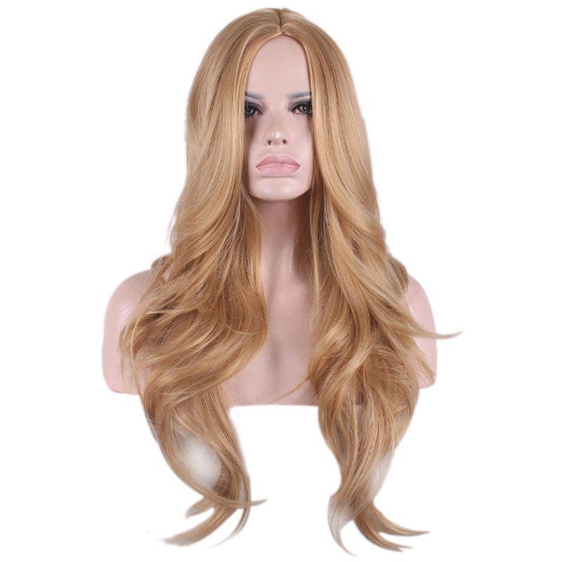 Parrucca donna lunga parrucca cosplay anime riccia resistente al calore Ladies'Blonde centrale separazione parrucca sintetica 65 cm a buon mercato peruca peluca