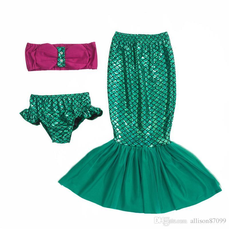Cute Mermaid Tail Scale tulle tail Cosplay performance Swimwear for girl Bathing suit Beachwear Wrap top+ skirt+panties Bikini 3pcs/set 2017