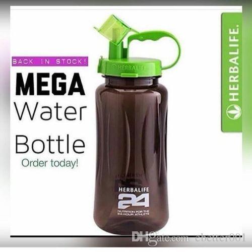 هرباليفي نيوتريشن ميجا هاف جالون 64 أوقية هزة الرياضة زجاجة مياه تريتان البلاستيك الأسود مع الأخضر غطاء هرباليفي 24 صالح نادي