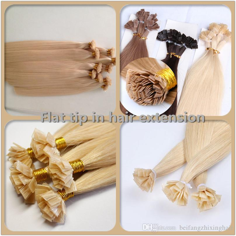 Elibess Grado 8A-100% Cabello Humano Brasileño, punta plana en extensiones de cabello, longitud 12 ''-26 ', 0.8g/s300s/Lot, dhl libre