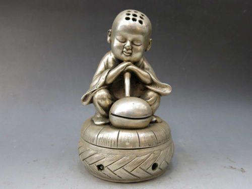 China Silber Handarbeit geschnitzt fein Räuchergefäß buddhistischen Mönch Weihrauch Brenner Statue