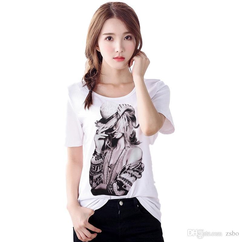 Kadın t gömlek Moda Marka Yeni 5 Renk 5 Boyutu 3D Baskı Karikatür T-Shirt Beyaz Artı boyutu gömlek Casual Tops Kısa Kollu NV50-R3
