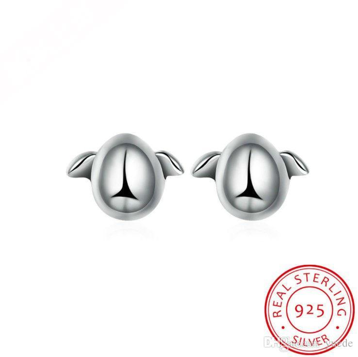 Joyería de moda 925 pendientes del pingüino de plata esterlina, pendientes de la manera europea y americana al por mayor Pendientes del perno prisionero
