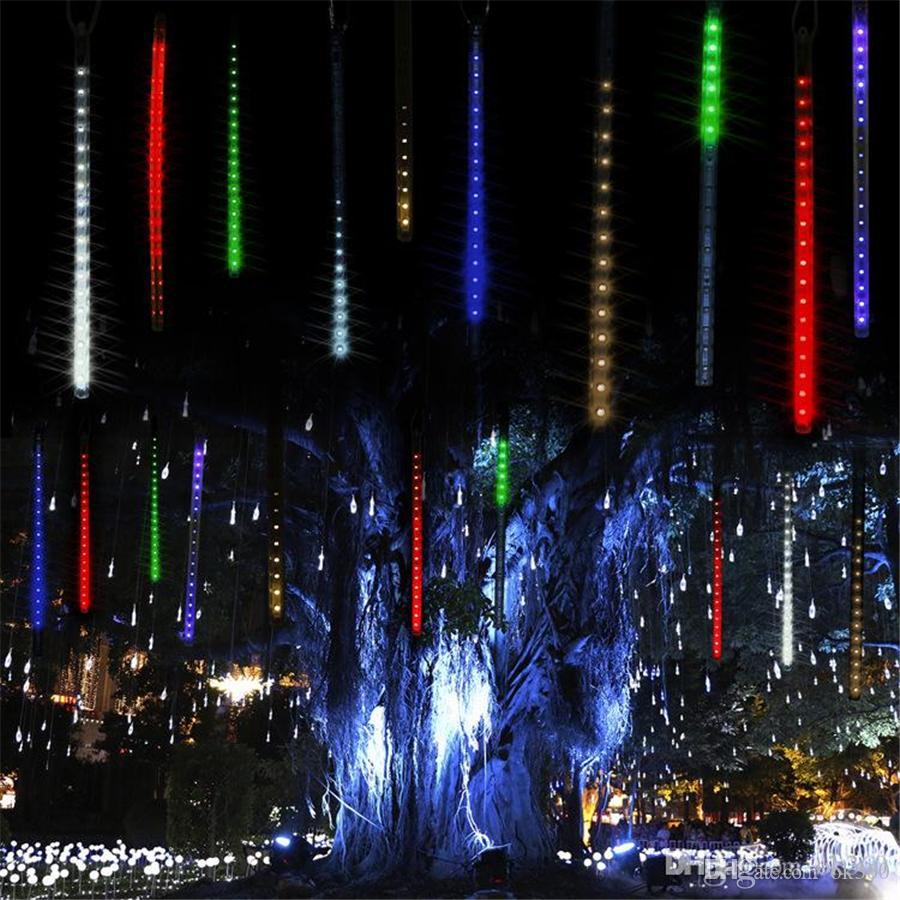 멀티 컬러 30cm 50cm 유성 샤워 비가 튜브 LED 크리스마스 불빛 웨딩 파티 가든 라이트 Xmas 문자열 라이트 야외