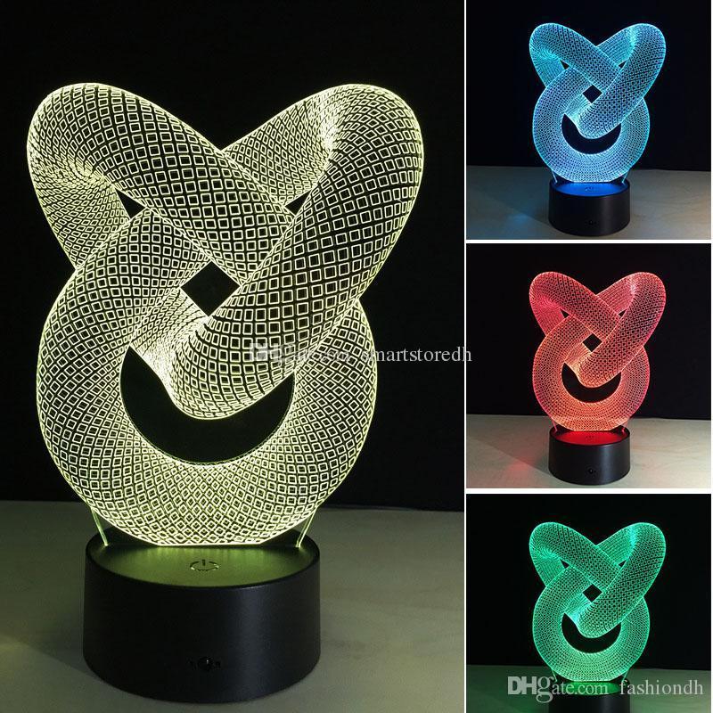 7 تغيير لون 3D الاكريليك الوهم تبديل مصباح LED ضوء الليل الجدة E00652 FASH